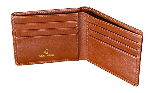 Cronus & Rhea® | Luxus Geldklammer aus exklusivem Leder (Ladon) | Kartenhalter - Kartenetui - Geldbeutel - Geldbörse | Echtleder | Mit eleganter Geschenkbox | Herren - Damen (Cognac)