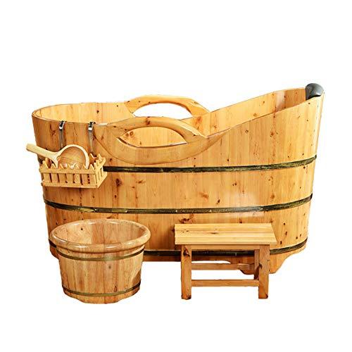 NQFL Bañera Sauna Barril De Madera Bañera Bañera Sauna Hotel Aguas Termales Baño para Adultos Barril (pasamanos) Solid Wood (Standard)-140 * 60 * 78cm