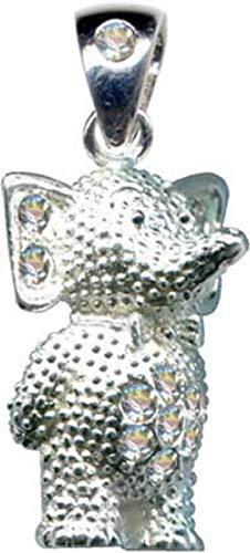 Colgante de elefante con elefante y elefante, plata de ley 925, circonitas, cristales brillantes, joya de plata de ley 925, color blanco