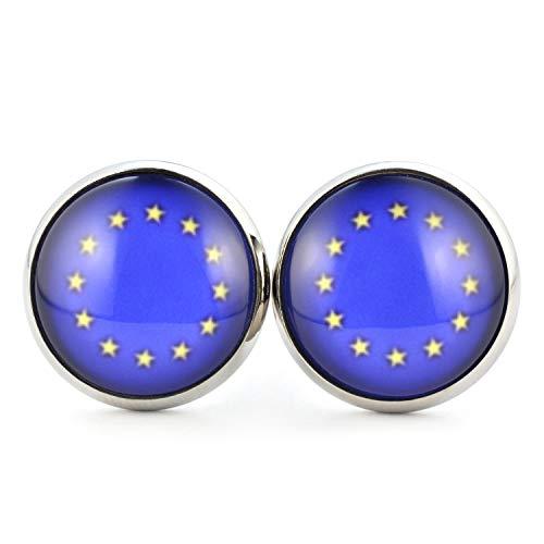 SCHMUCKZUCKER Damen Ohrstecker mit Motiv Europa EU Euro Europäische Union Sterne Flagge Fahne Edelstahl Ohrringe Silber Blau 14mm