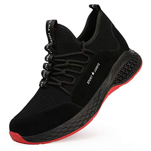 JIANYE Arbeitsschuhe S3 Herren Damen Sicherheitsschuhe mit Stahlkappe Schutzschuhe Unisex Atmungsaktiv Leicht Sneakers -Schwarz 41