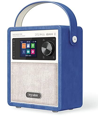 Inscabin P200 Tragbarer DAB/DAB+/FM-Digitalradio/mit Bluetooth, Stereoklang, schönes Design, Doppelwecker, wiederaufladbarer Akku,(Blau)