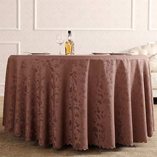 Tischdecke Hotel Tischdecke Baumwolle Runde Tischdecke Weiß Braun Tischdecke(Color:Kaffee,Size:180cm round)