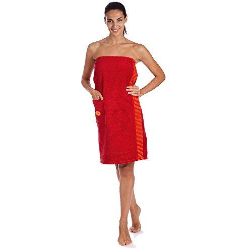 Egeria Wellness & Sauna Ben Sarong Saunakilt für Damen 100% Baumwolle - Crimson - One-Size