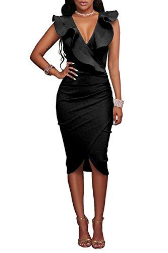 YMING Damen Figurbetontes Midi Kleid Sexy Tief V Ausschnitt Bleistiftkleid Übergröße,Schwarz,XXL/DE 44-46