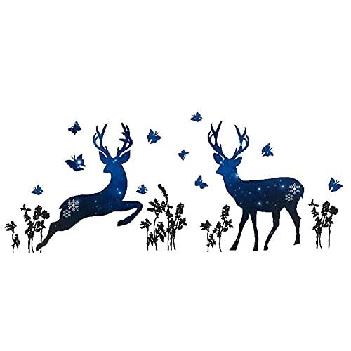 PUYIQARE 25X70Cm Creativo Estrella Azul Ciervo Pegatina de Pared Mariposa decoración del hogar Sala de Estar Decoraciones de Fondo Mural Arte calcomanías Pegatinas de Dormitorio