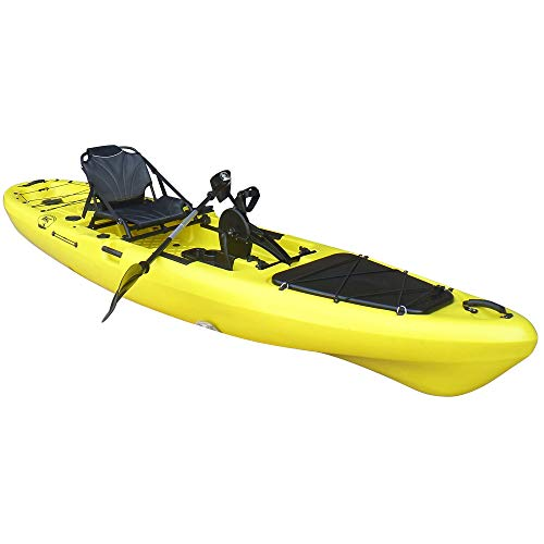 BKC PK13 13' Pedal Drive Fishing Kayak W/Rudder System and Instant Reverse, Paddle, Upright Back Support Aluminum Frame Seat, 1 Person Foot Operated Kayak (Yellow)