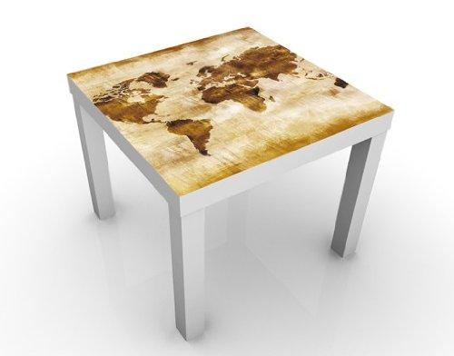 Apalis Design Tisch No.CG75 Map of The World 55x55x45cm Beistelltisch Couchtisch, Tischfarbe:Weiss;Größe:55 x 55 x 45cm