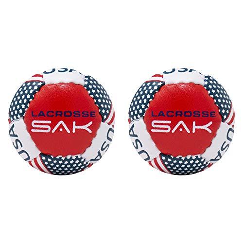 Lax Sak Lot de 12 balles d'entraînement Lacrosse Même poids et taille qu'une balle de crosse standard. Idéal pour une utilisation en intérieur et en extérieur. Moins de rebond et moins de rebonds., drapeau des états-unis, 2 Balls