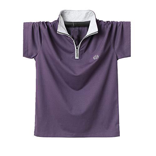 NOBRAND Camiseta de manga corta de manga corta para hombre con cremallera de cuello falso, suelta grasa media manga Morado violeta 4XL