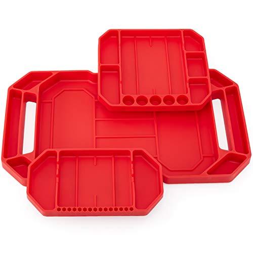 Aocoom 3pcs Large Non-Slip Flexible Tool Tray, Tool Mat, Tool Organizer, Tool Storage, Tool Holder, Grip Mats, No Magnets (Red)