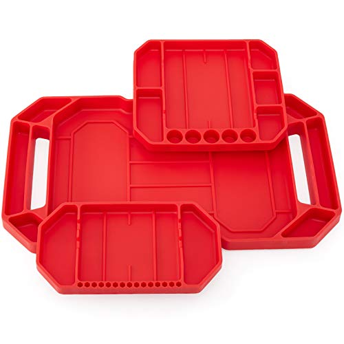Aocoom 3pcs Flexible Non-Slip Tool Tray, Tool Organizer, Tool Storage, Tool Holder, Tool Mats, Grip Mat, Tool Mat, No Magnets (Red)