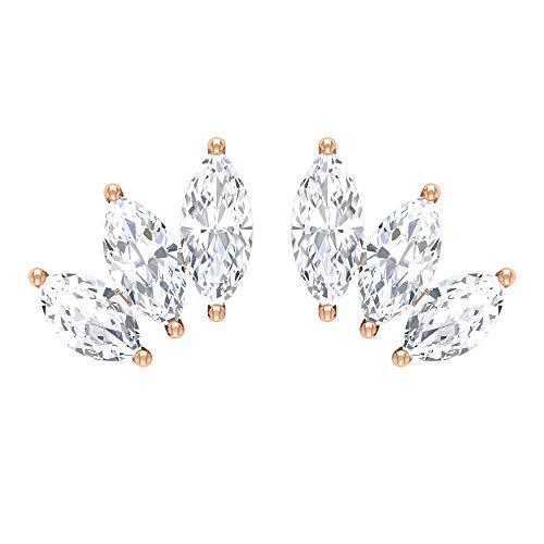 Orecchini a forma di cartilagine con diamante 1/2 ct, tre pietre, orecchini in oro minimale, 14K Oro rosa, Paio