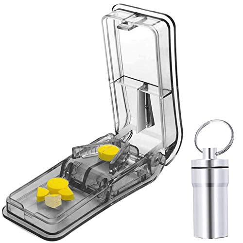 Pill Cutter for Small or Large Pills. The Best Pill Splitter Ever! Design in The USA. Doubles as a Pill Box. Excellent Pill Splitter Cutter with Keychain Pill Case