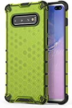 Soezit Shock Proof Dual Layer Hybrid Armor Back Cover Case with Honeycomb Pattern for Samsung Galaxy S10 Plus - Green