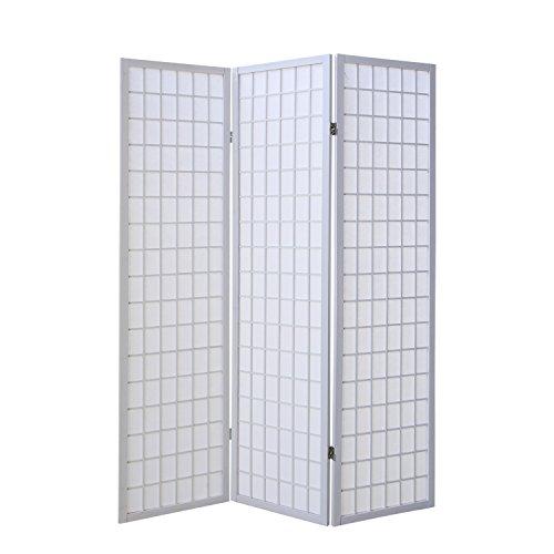 Homestyle4u 260, Paravent Raumteiler 3 teilig, Holz Weiss, Reispapier Weiß, Höhe 175 cm