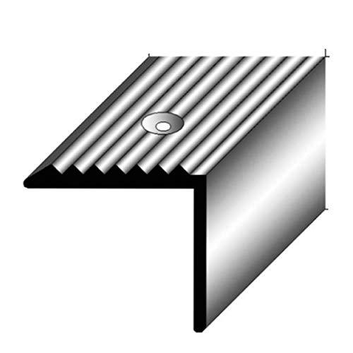 1 mètre Nez de marche / cornière pour escaliers (20 mm x 20 mm) Aluminium anodisé, foré, couleur: argent