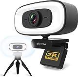SKYCROO | Webcam con Microfono para pc - Camara Web con Aro de Luz - Ordenadores Portatiles Mesa Gaming Soporte Portatil Ordenador USB Bluetooth Cámara Vigilencia Streaming Trabajo con Windows Apple