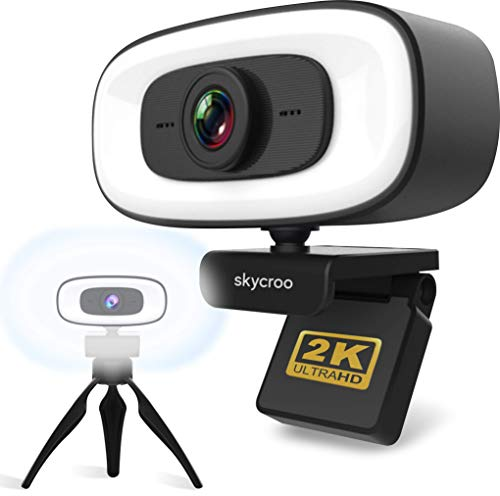 SKYCROO | Webcam con Microfono para pc - Camara Web con Aro de Luz - Ordenadores Portatiles Mesa Gaming Soporte Portatil Ordenador USB Bluetooth Cámara Vigilencia Streaming Trabajo con Windows Apple