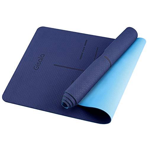 GISALA Yogamatte Yoga Matte rutschfest für Gymnastik, Pflegeleichte jogamatte (Blau)