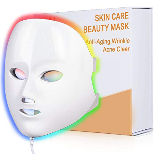 LED Face Mask Light Therapy, NEWKEY LED Facial Skin Care Mask, 7 Colors Red and Blue Light Therapy Mask, Photon LED Mask for Acne Reduction - Dark Spot - Anti Aging - Wrinkles