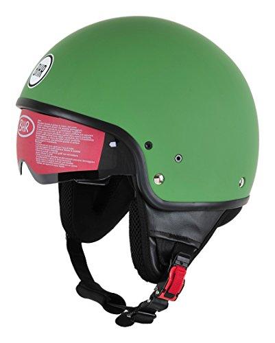BHR Motorrad Helm 802 Demi-Typ mit Visier Versenkbare,matt grün, L (58 cm)