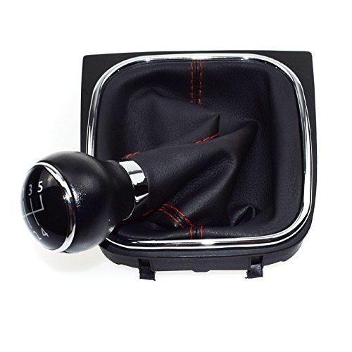 eGang Auto Pommeau de Levier de Vitesse Manuel en Cuir à 5 Vitesses pour VWS Golf MK5 MK6 Jetta MK3 MK4 04 05 06 07 08 09 10 11 12 13 14 15 1KD 711113 A / 1KD711113A