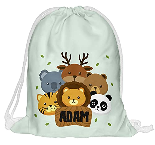 Sacca da palestra per bambini con nome e stampa completa di borsa in iuta, per fitness, panacorn [010], Animali, s,