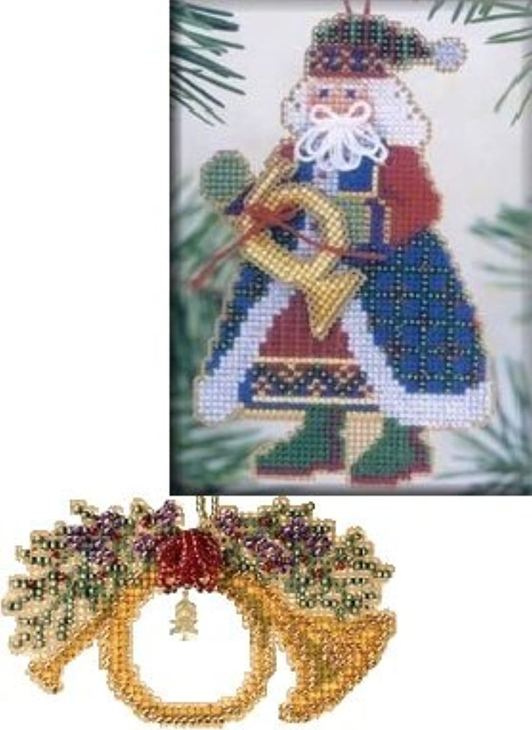2 Item Bundle - Counted Glass Bead Ornament Kits : French Horn Santa Kit & French Horn Kit