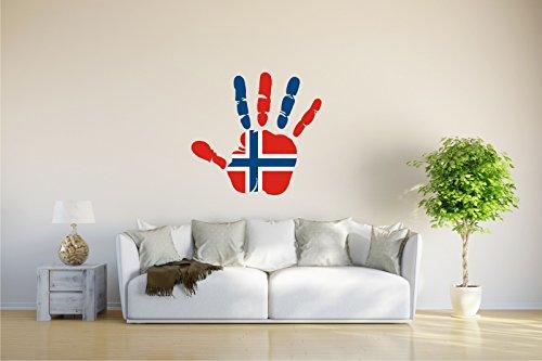 Wandtattoo - CH - Fahne in der Hand - Norway - Norwegen - 61x58 cm
