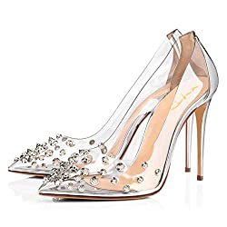 Rhinestone Studded Pointy Toe Mid Spike Heels In Silver