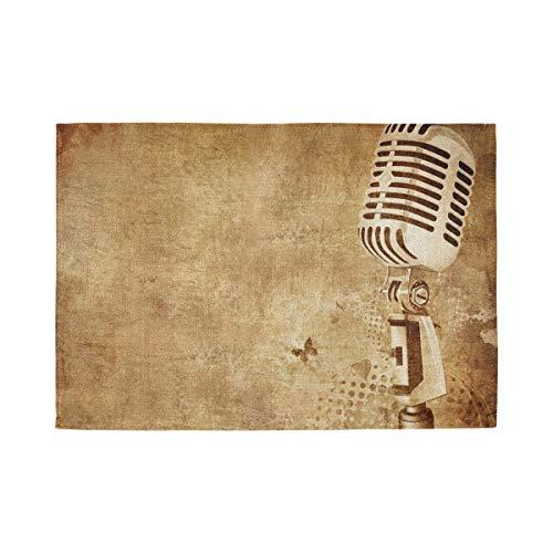 XiangHeFu Makkelijk schoon te maken Niet Slip Placemat Vintage Muziek Microfoon Hittebestendige Thuis Keuken 12x18inx1 Tafelmat