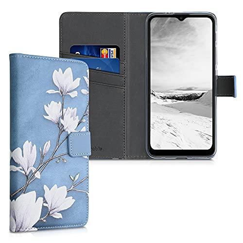 kwmobile Wallet Hülle kompatibel mit Motorola Moto G30 / Moto G20 / Moto G10 - Hülle Kunstleder mit Kartenfächern Stand Magnolien Taupe Weiß Blaugrau