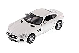 "1/36 scale diecast collectible model car This Mercedes Benz SLS AMG is 5""L x 2""Wx 1.25""H Openable doors and pull back motor action White"