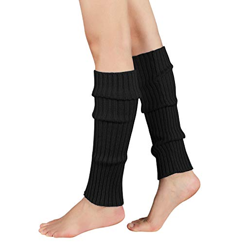 Zando Women Fashion Leg Warmers Adult Junior 80s Ribbed Knitted Long Socks for Party Sports A Black One Size