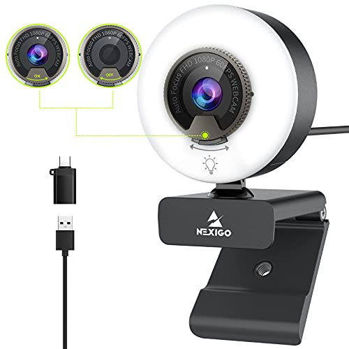 60FPS Streaming Webcam with Ring Light, Fast AutoFocus, Built-in Privacy Cover, 2021 NexiGo N960E USB 1080P Web Camera, Dual Stereo Microphone, for Zoom Meeting Skype Teams