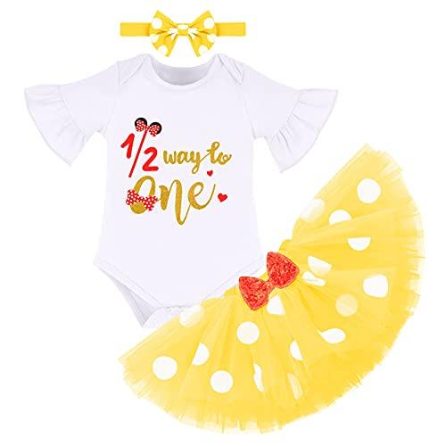 FYMNSI Conjunto de ropa de algodón de manga corta para bebé con tutú de lunares y falda de tul con orejas y diadema, 3 piezas amarillo 6 Meses