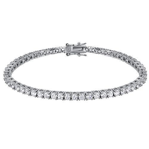YLMyself Pulsera de tenis de plata pura de 16 – 20,5 cm, joyería de 2 – 4 mm, 5 A, regalo eterno para esposa, impresionante joyería real 925
