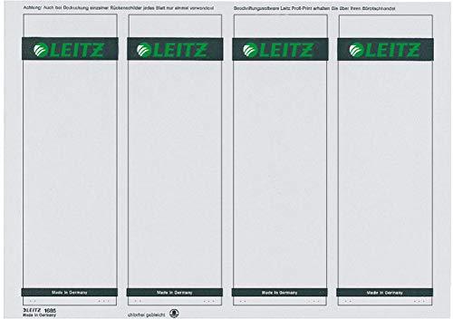 LEITZ® Rückenschild, auf A4-Bogen, selbstklebend, Papier, breit/kurz, 61 x 192 mm, grau (100 Stück), Sie erhalten 1 Packung á 100 Stück