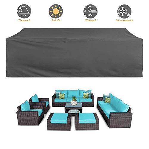 HYISHION Funda para Muebles de Jardín Impermeable Funda para Mesa para Mobiliario de Exterior Mesa,Negro,244 * 244 * 90cm