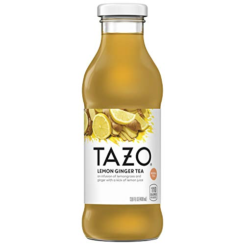 Tazo Lemon Ginger Iced Tea, 13.8 Ounce Glass Bottles, 8 Count