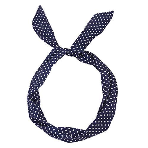 Headband/Dorical Haarbänder Vintage Polka Dots Haarschmuck Stirnband Haarreifen, Rockabilly Accessoires für Damen Mädchen/Fashion Bow Tägliche Kopfbedeckung/Frauentag-haarbänder(Marine)