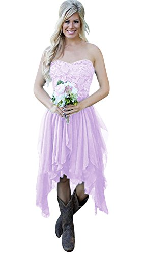 Andybridal Cheap Country High Low Chiffon Lace Beach Wedding Guest Cocktail Party Bridesmaid Dress Lavender 22 Plus