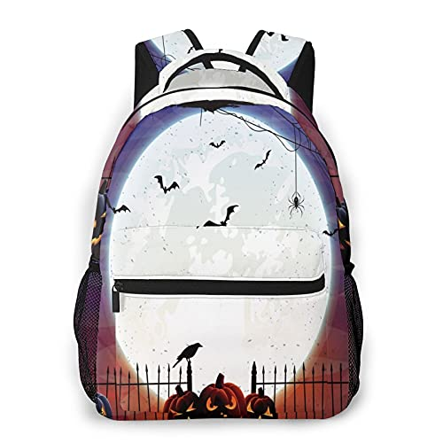 Mochilas escolares para niñas Luna Calabaza Bat Casual Bolsa de hombro Librero Ligero Daypack, Moon Pumpkin Bat, Talla única