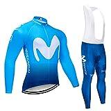 Q&W Hombres Ciclismo Ropa Conjunto Respirable Largo Manga Movistar Ciclismo Jersey Saco Chaqueta con 3D Acolchado Pantalones Secado Rápido,a,XL
