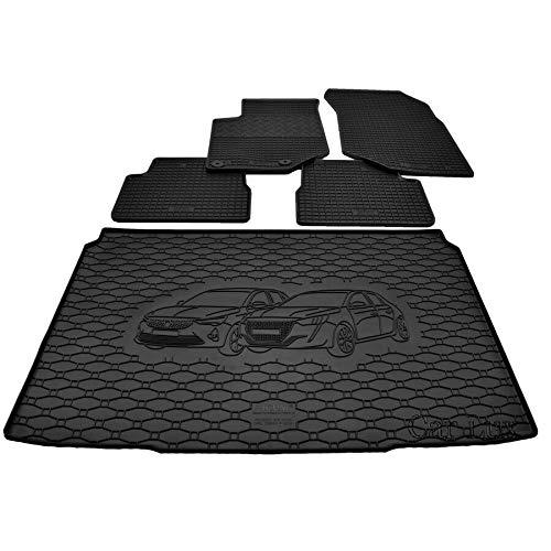 Car Lux DUO06056 - Alfombras Alfombrillas de goma a medida + alfombra maletero conjunto para PEUGEOT 208 II desde 2019-