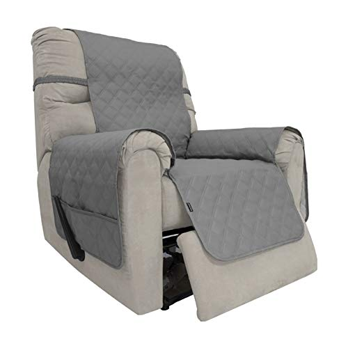 Easy-Going Sofa Slipcover Waterproof Recliner Chair Cover Non-Slip Fabric Couch Cover for Living Room Washable Furniture Protector for Pets Kids Children Dog Cat (Recliner, Gray)