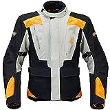Chaqueta Moto Hombre Chaqueta De Moto Impermeable para Hombre, Chaqueta De Moto De 4 Estaciones para Uso Todoterreno, con Equipo De Protección Certificado CE (Color : Orange, Size : L)