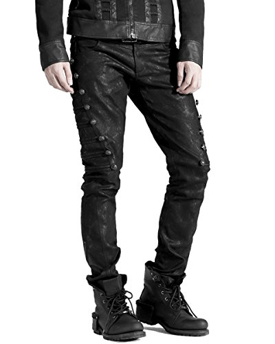 Punk Rave Dieselpunk - Pantalones vaqueros para hombre, color negro Negro Negro...