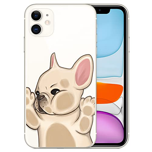 French Bulldog Phone Case Compatible with iPhone 11,Soft TPU Silicone Slim Transparent Protective Case for iPhone 11,Gift for Women Girls (Walled-1)